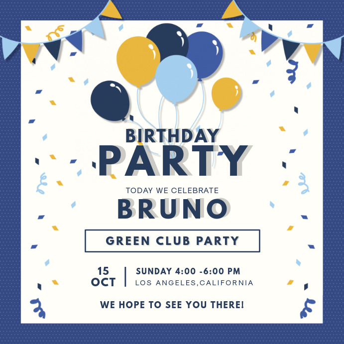 Blue Navy Birthday Party Invitation Card Template Postermywall