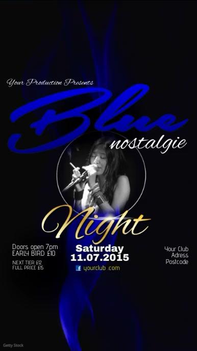 Blue Nostalgie Night Video Post Ecrã digital (9:16) template