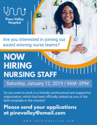 Blue Nurse Job Hiring Flyer