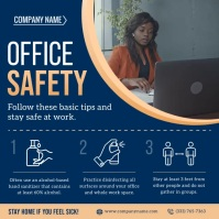 Blue Office Safety Rules Instagram Video Kvadrat (1:1) template