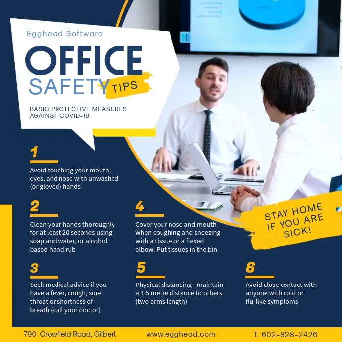 Blue Office Safety Work from Home Guidelines Publicação no Instagram template