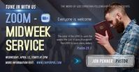 Blue Online Midweek Church Service Facebook P template