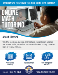 Blue Online Tutoring Flyer template