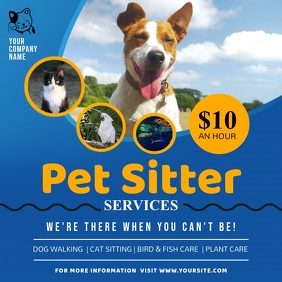 Blue Pet Sitter Services Ad Square Video Vierkant (1:1) template