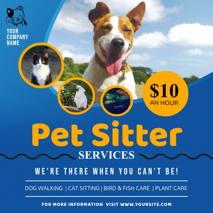 Blue Pet Sitter Services Ad Square Video Kvadrat (1:1) template