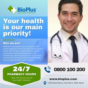 Blue Pharmacy Ad Square Video template