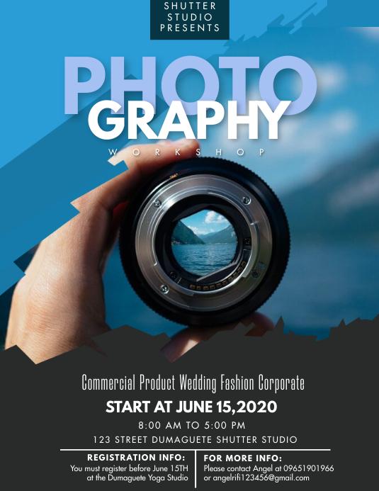 Blue Photography Studio Workshop Flyer template