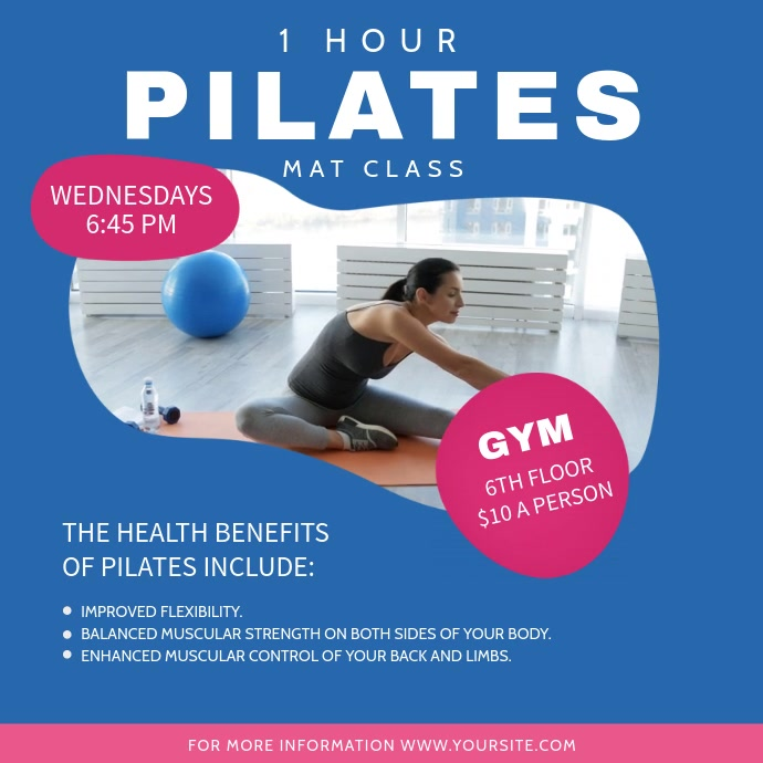 Blue Pilates Class Ad Square Video