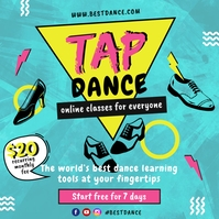 Blue Pop Art Tap Dance Class Instagram Post T template