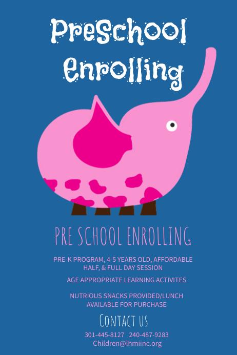 Blue Preschool Poster Template