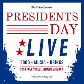 Blue President's Day Live Event Invitation