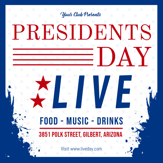 Blue President's Day Live Event Invitation