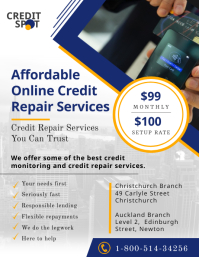 Blue Professional Credit Repair Service Flyer Pamflet (VSA Brief) template