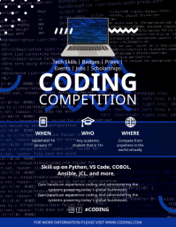 Blue Programming Competition Custom Template Pamflet (Letter AS)