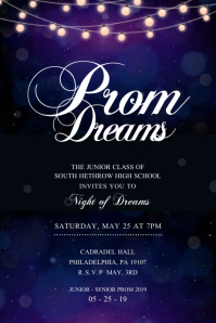 Blue Prom Dance Themed Poster Affiche template