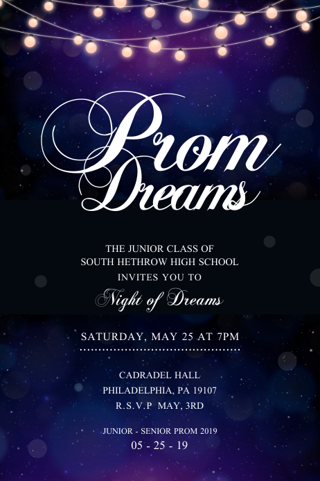 Blue Prom Dance Themed Poster