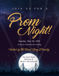 Blue Prom Night Invitation Flyer template