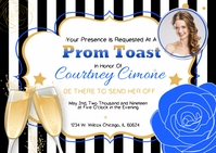 Blue Prom Send-Off Invitation A6 template