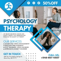 Blue Psychology Therapy Instagram Post Templa template