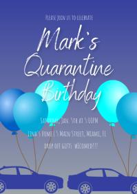 Blue Quarantine Birthday Invitation A4 template