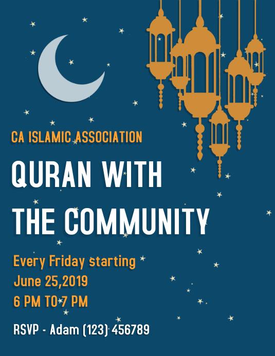 Blue Ramadan Seminar Flyer Template | PosterMyWall