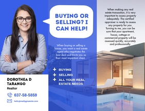 Blue Real Estate Agent Tri Fold Brochure Flyer (US Letter) template