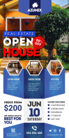 Blue Real Estate Open House Banner Cartel enrollable de 3 × 6 pulg. template