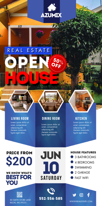 Blue Real Estate Open House Banner 易拉宝 3' × 6' template
