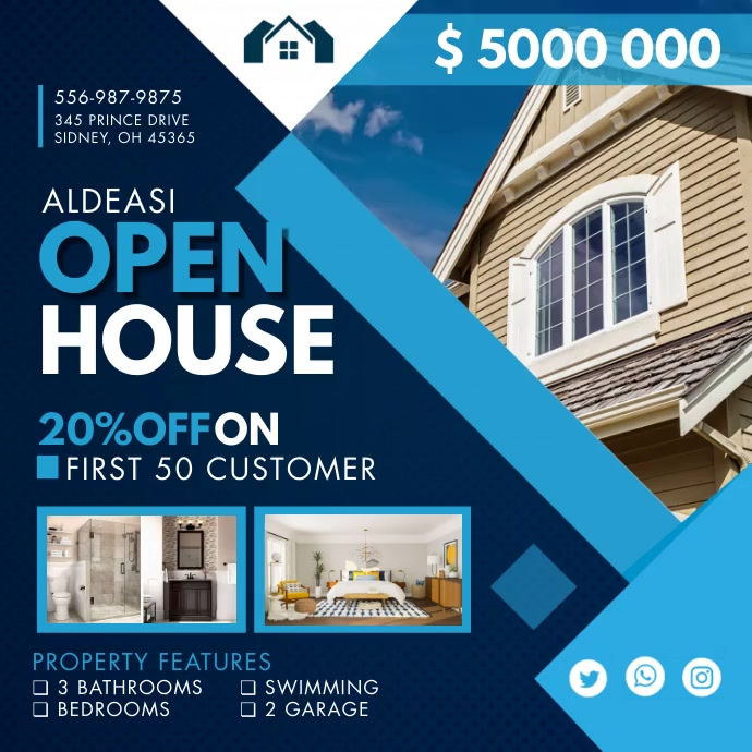 Blue Real Estate Open House Instagram Video T Square (1:1) template