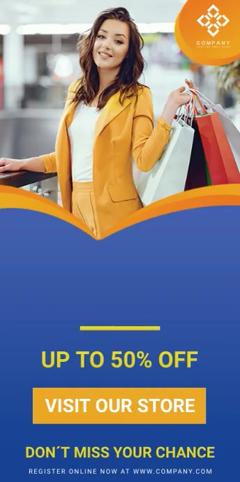 Blue Retail Clothes Sale Banner Stand template