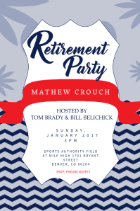 Blue Retirement Party Poster Template