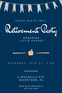 Blue Retirement Party Poster Template Affiche