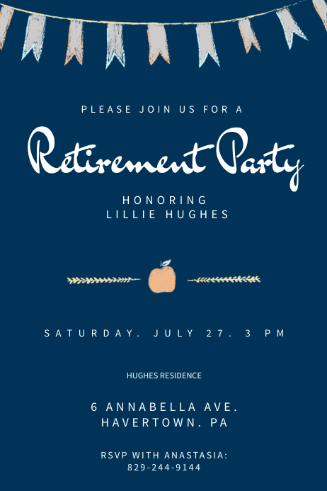 Blue Retirement Party Poster Template Iphosta