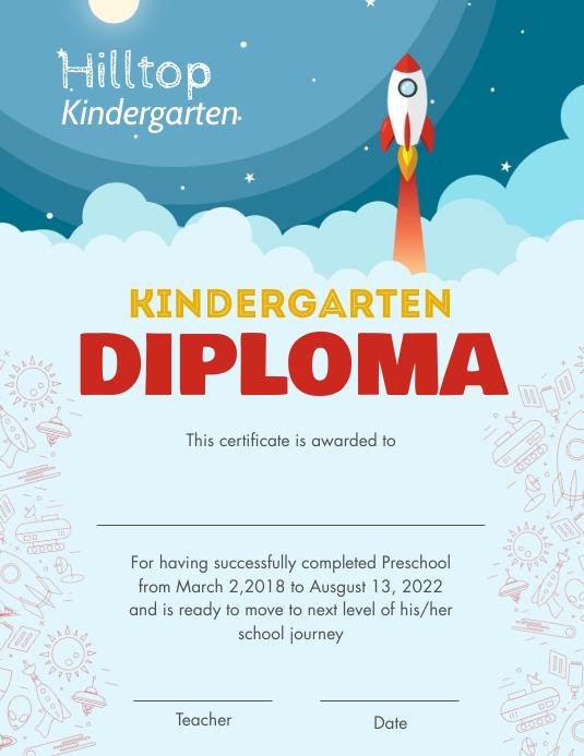 Blue rocket kindergarten diploma certifcate Рекламная листовка (US Letter) template