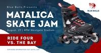 Blue roller skate facebook post template