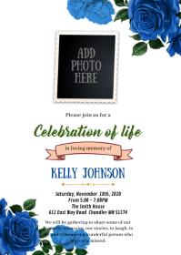 Blue rose Funeral Memorial invitation A6 template
