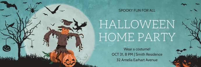Blue scarecrow Halloween Twitter header Twitter-header template