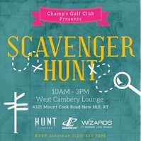 Blue scavenger hunt design Quadrato (1:1) template