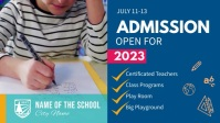 Blue School Admission Ad Facebook Cover Video template