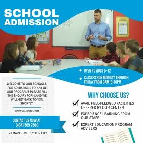 Blue School Admission Square Video template