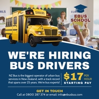 Blue School Bus Driver Hiring Instagram Post template