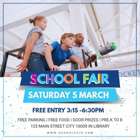 Blue School Fair Invite Design