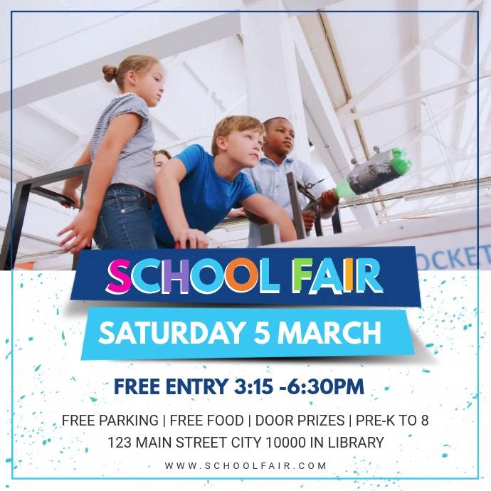 Blue School Fair Invite Design