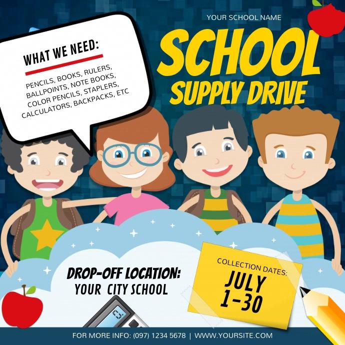 Blue School Supply Drive Instagram Video Persegi (1:1) template