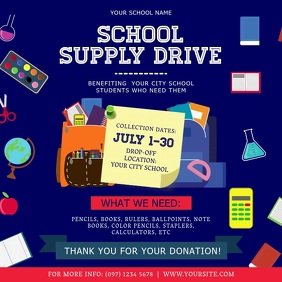 Blue School Supply Drive Square Video template