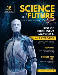 Blue Science and Robotics Magazine Cover Flye Flyer (format US Letter) template