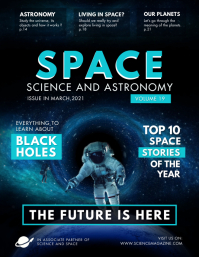 Blue Science Astronaut Magazine Cover Flyer T template