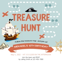 Blue sea treasure hunt design Post Instagram template