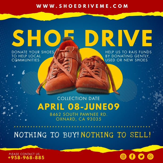Blue Shoe Drive Charity Instagram Post Templa Instagram-bericht template
