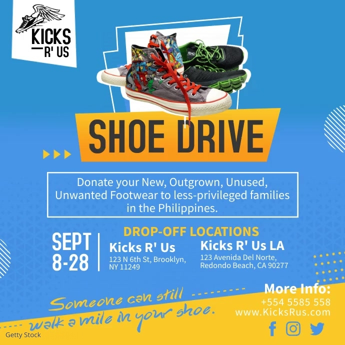 Blue Shoe Drive Charity Instagram Video Templ Instagram-bericht template